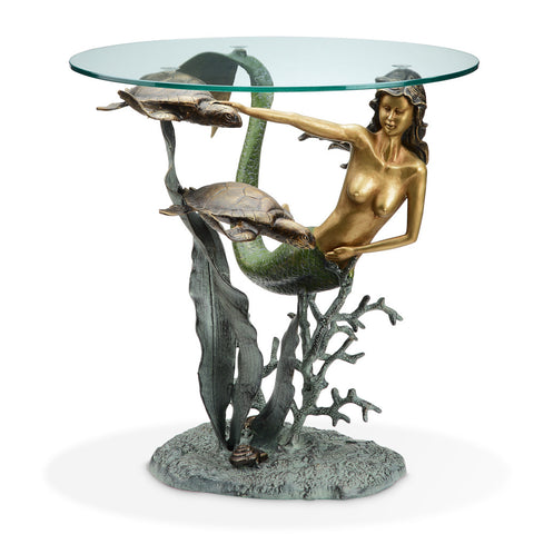 Mermaid and Sea Turtles End Table - ArtsiHome