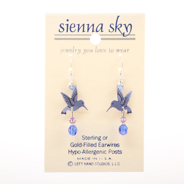 Sienna Sky Hummingbird Painted Lavender W/Bead Earrings - ArtsiHome