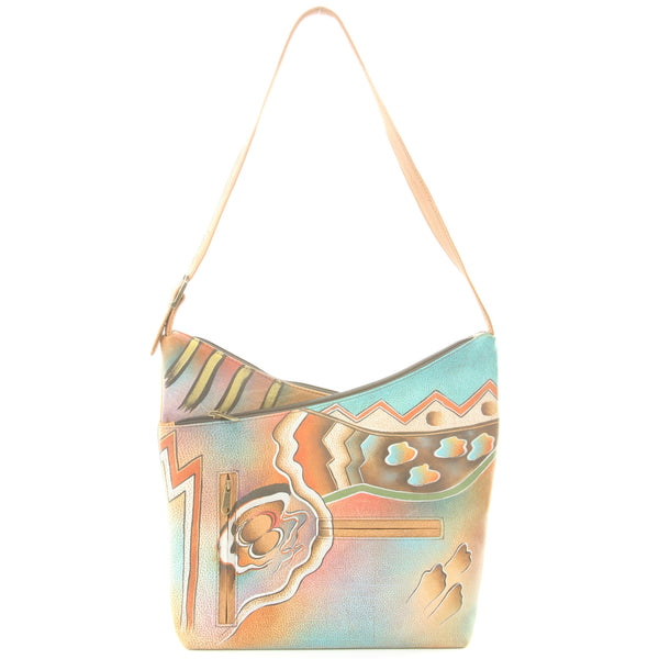 Anuschka Hand Painted Leather Purse Bag Abstract Art Twilight - ArtsiHome