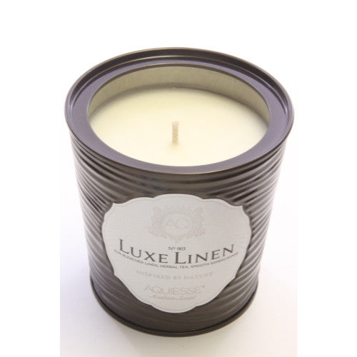 Luxe Linen Portfolio Scented Candle in Tin with Built in Box (11 oz) - ArtsiHome