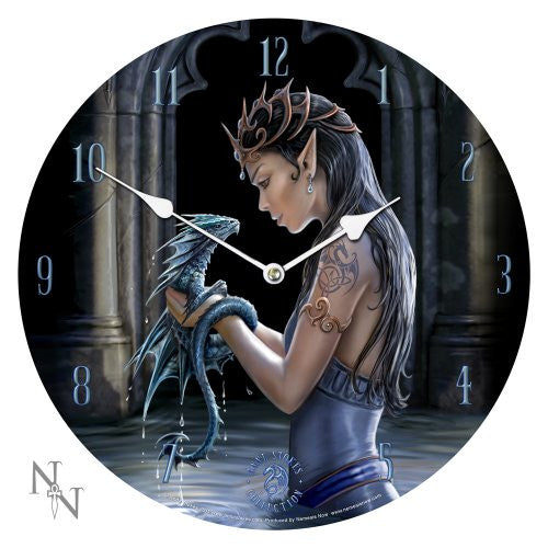 13.5 Water Dragon Anne Stokes Collection Fantasy Goth Angel Art Round Wall Clock - ArtsiHome