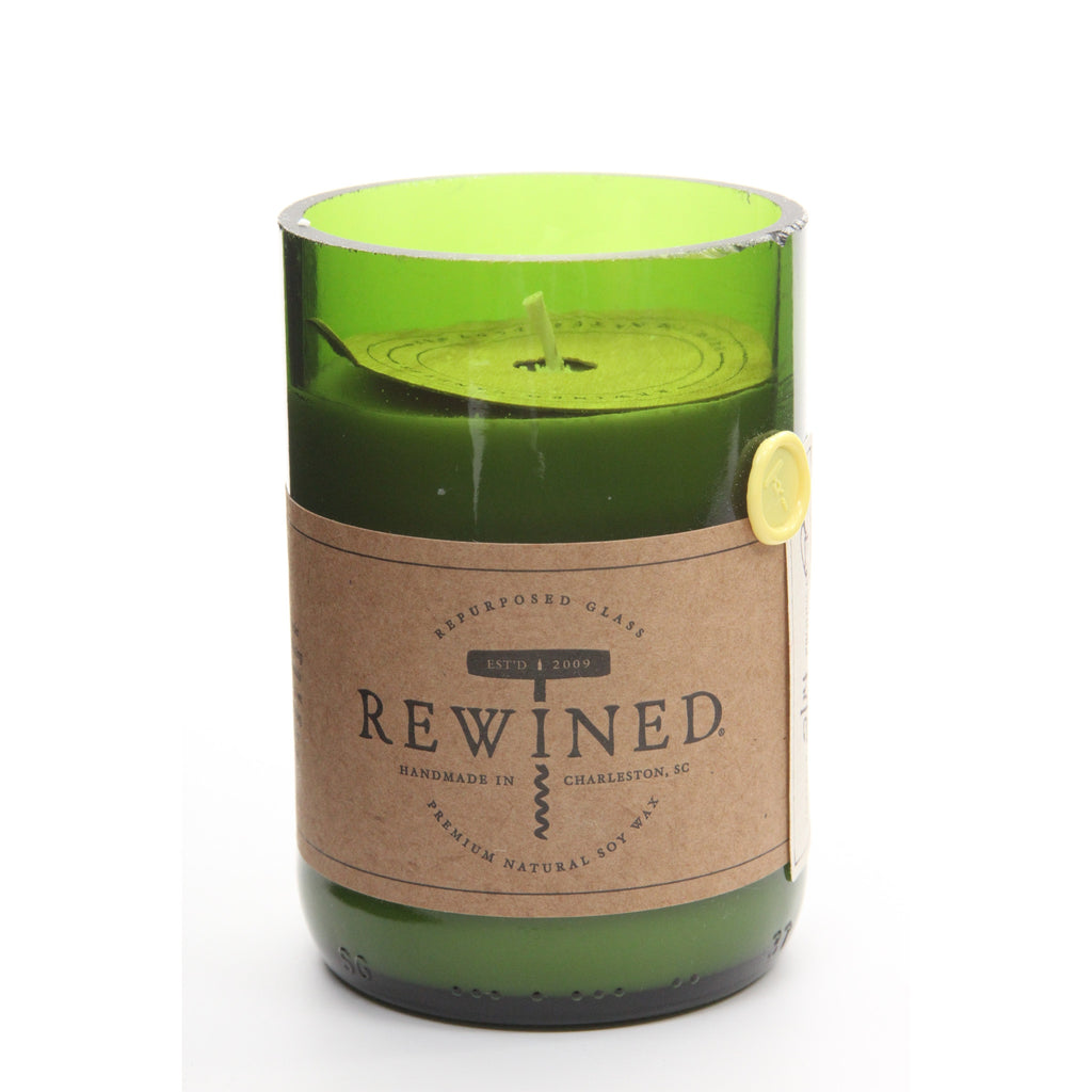 Rewined Recycled Wine Bottle Soy Wax Candle w/ Chardonnay Scent - ArtsiHome
