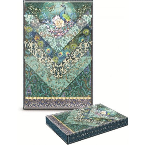 Punch Studio Blue Peacock Gold Foil Embellished Note Cards with Elegant Matching Envelopes -- Set of 10 - ArtsiHome