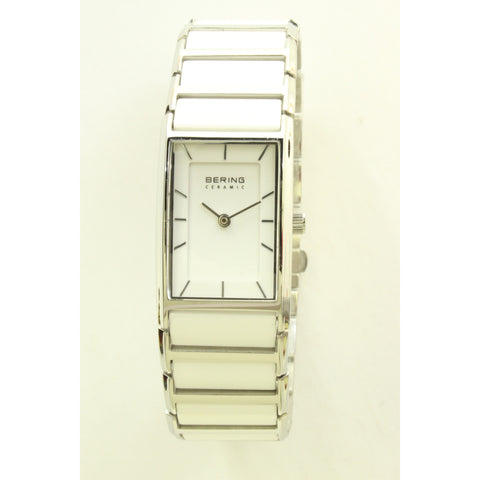 Bering Ladies Ceramic Square Watch (White and Silver) - ArtsiHome