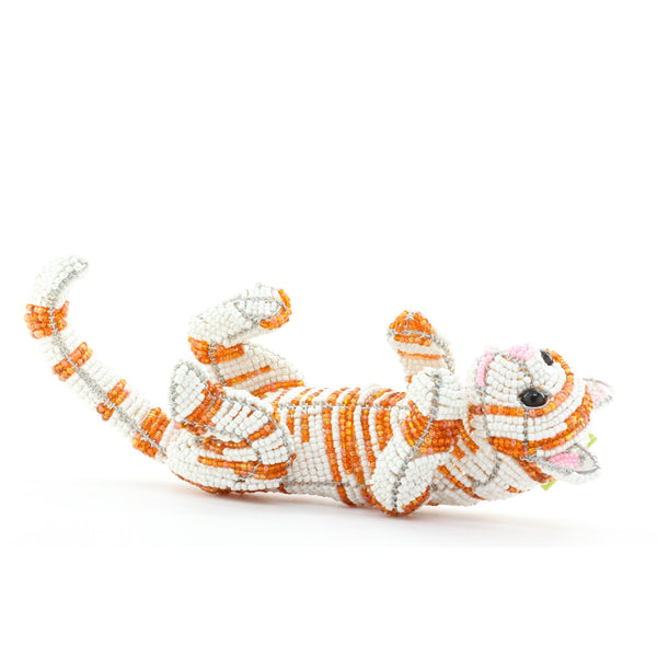 Grass Roots Creations Napping Cat Beaded Sculpture - ArtsiHome