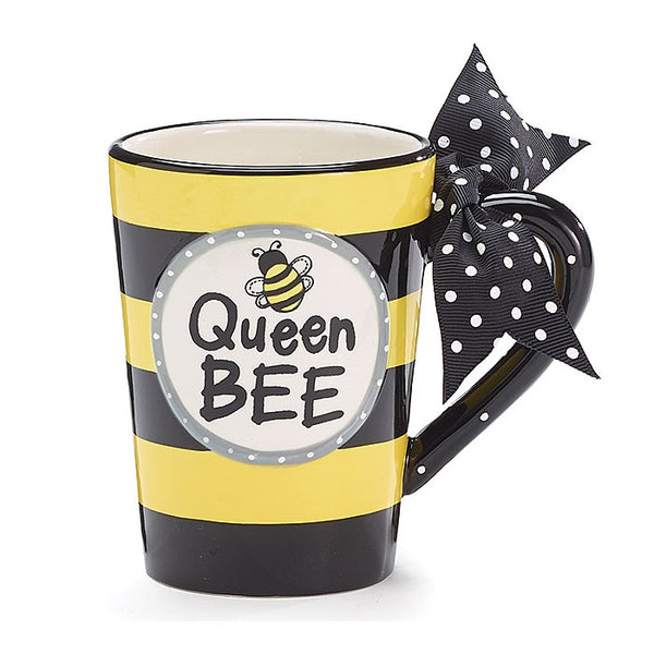 Whimsical Queen Bee 13 oz Coffee Mug with Polka Dot Bow on Handle Gift Boxed - ArtsiHome - Burton&Burton