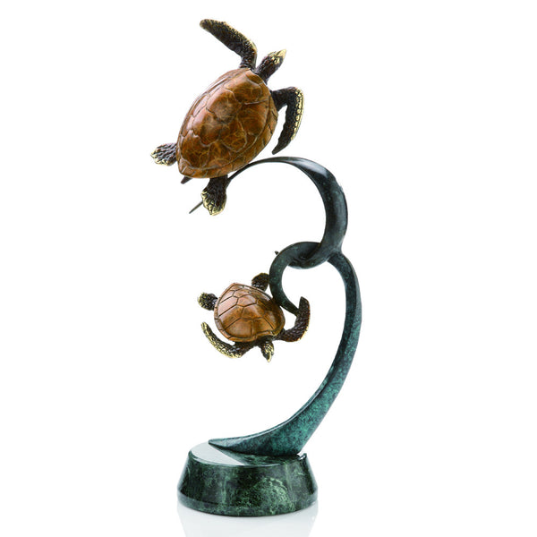 Double Turtles on Ribbon Brass and Marble Sculpture - ArtsiHome