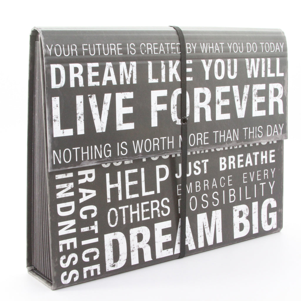 Inspired Words Expanding Accordion File Folder - ArtsiHome
