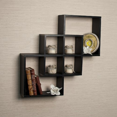 Danya B. Intersecting Squares Decorative Black Wall Shelf - ArtsiHome