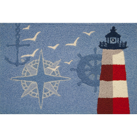 Ocean Outpost Red White Lighthouse Compass Anchor Accent Rug 21 x 33