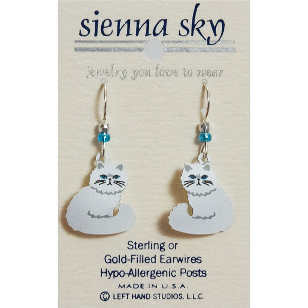 Sienna Sky White Persian Cat W/Blue Eyes Earrings - ArtsiHome
