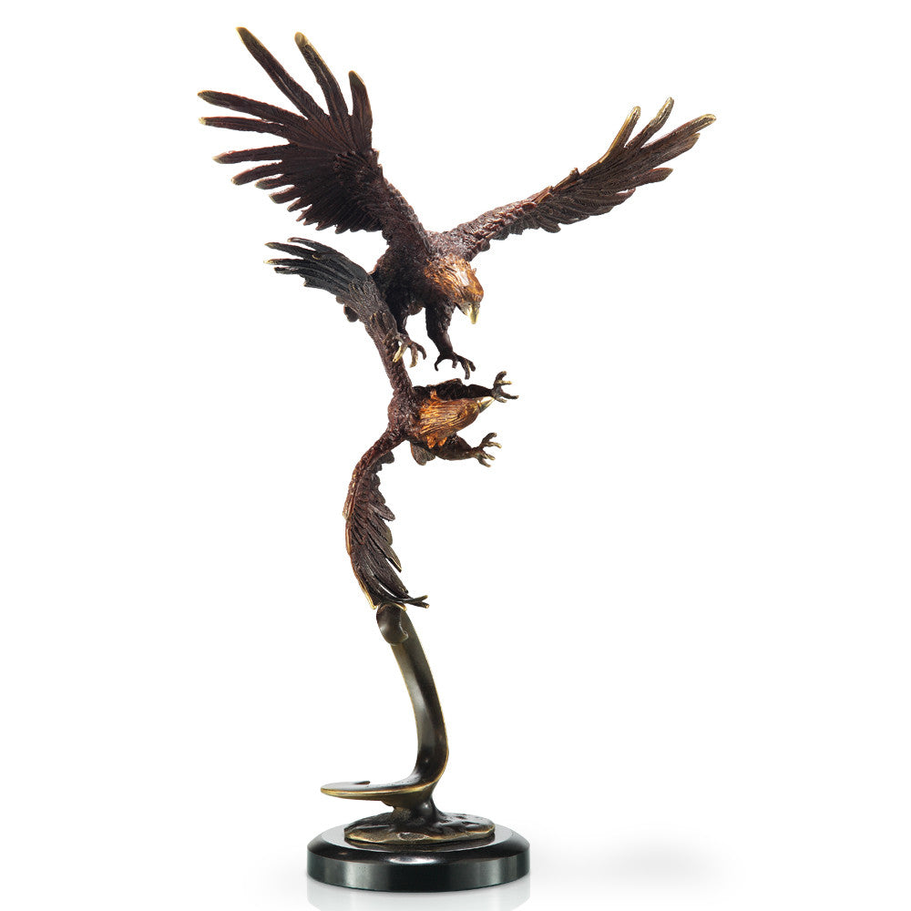 SPI Home Collection Double Flying Eagles Statue - ArtsiHome