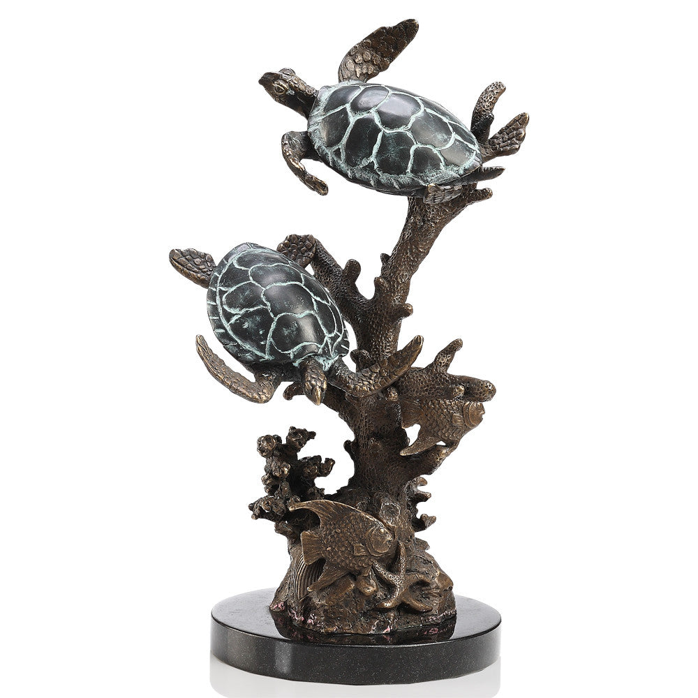 SPI Turtle Duo and Sea Life Brass and Marble Sculpture - ArtsiHome