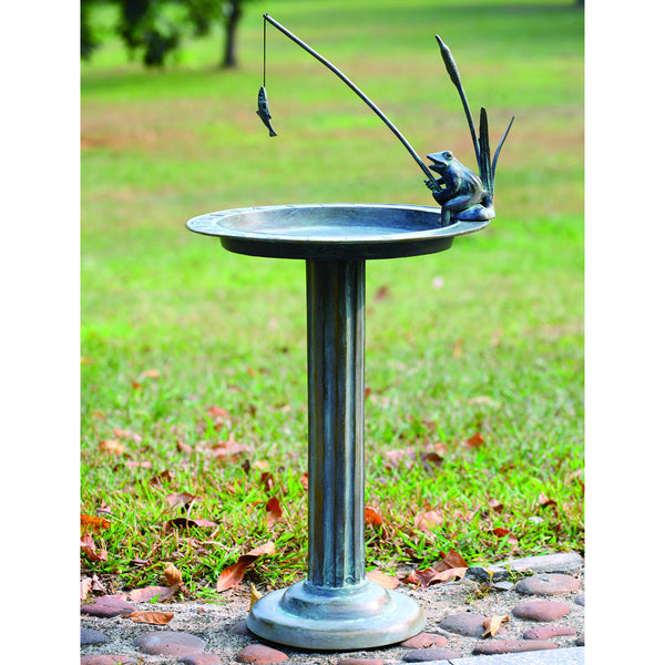 SPI Garden Collection Fishing Frog Sundial and Birdbath - ArtsiHome