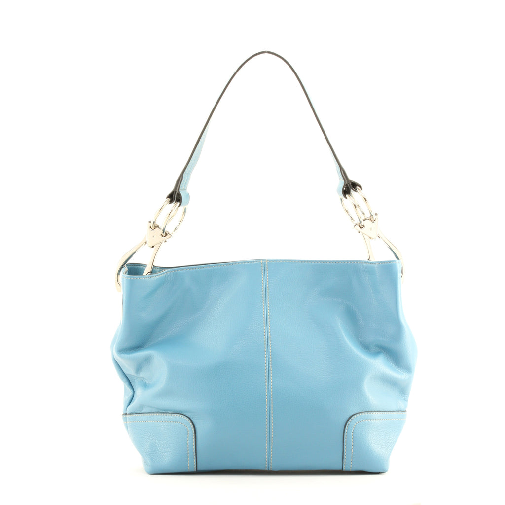 New Tosca Handbag, Purse Bucket Style Shoulder Bag Leather Look, 640 Color New Blue - ArtsiHome