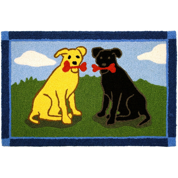 Yellow & Black Labs with Bones Doormat-JellyBean Rug - ArtsiHome - JELLYBEAN RUGS