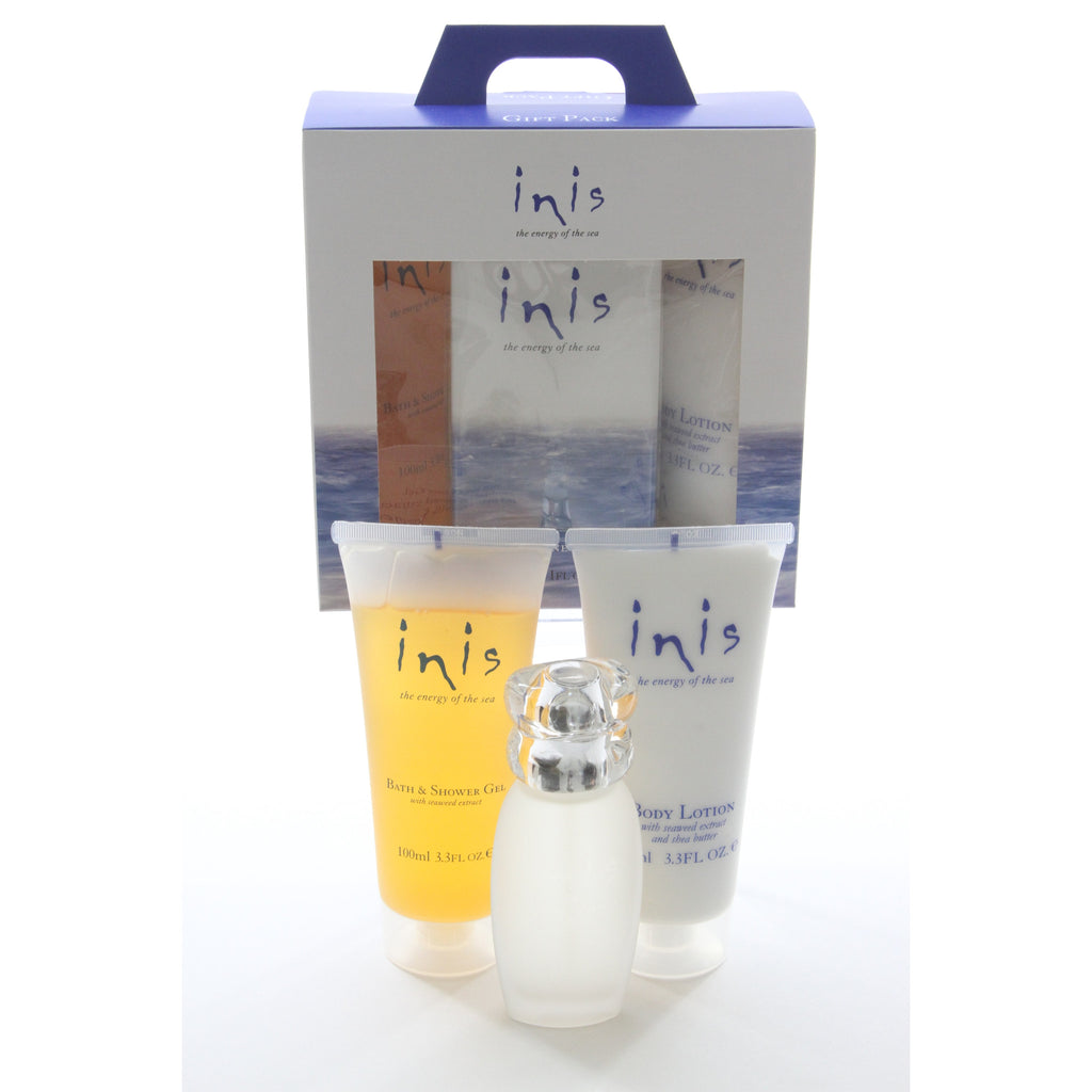 Inis Travel Gift Set 1oz Cologne, 3.3oz Body Lotion, 3.3oz Shower Gel - ArtsiHome