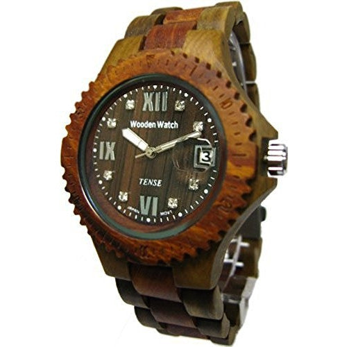 Tense Wooden Compass Collection Men's Watch - Sandalwood Two-Tone - ArtsiHome