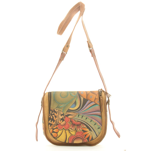 Genuine Leather Hand Bag w/ Patch Garden Design and 22