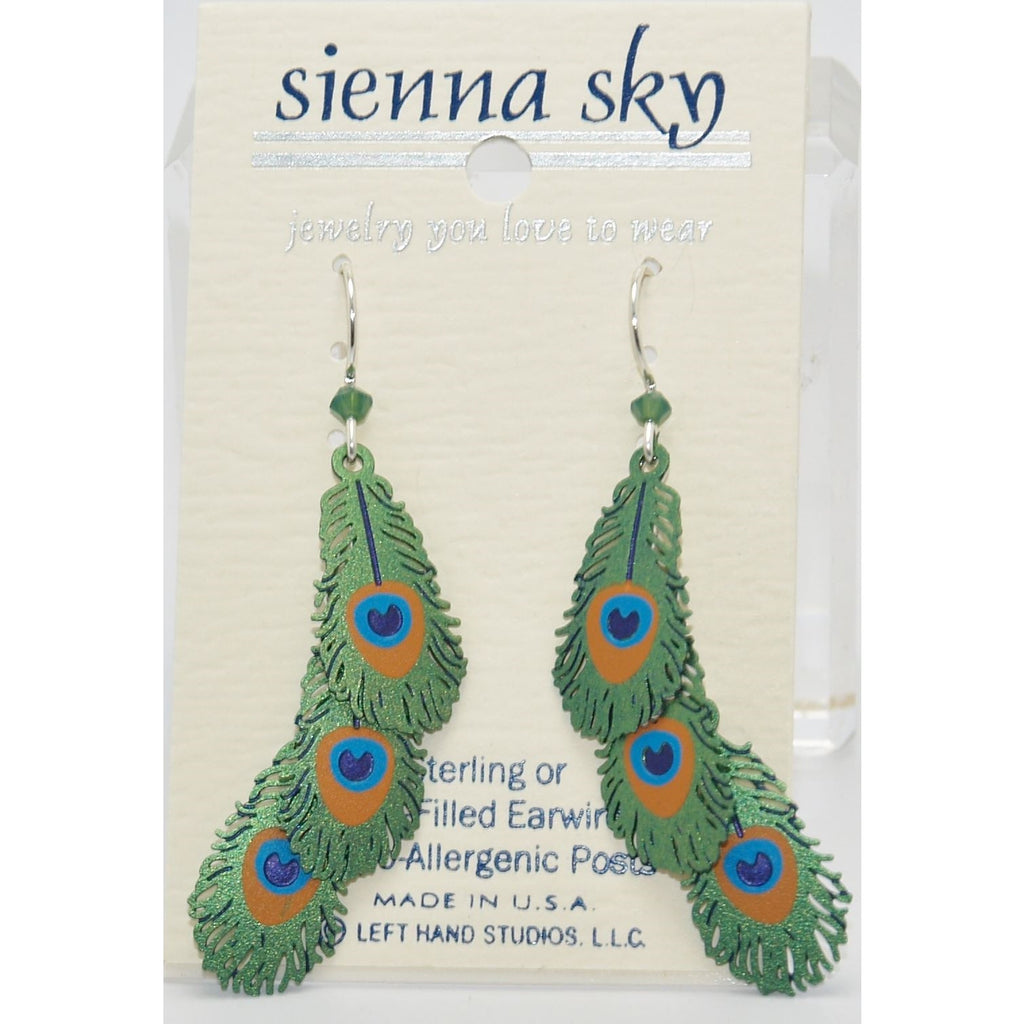 Sienna Sky 3-Tier Peacock Feathers Earrings - ArtsiHome