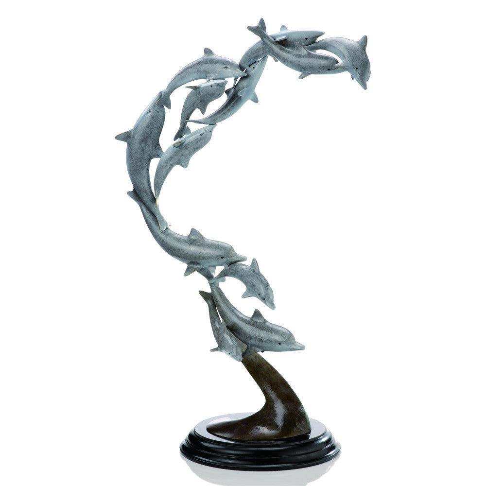 SPI Playful School of Dolphins Brass and Marble Sculpture - ArtsiHome
