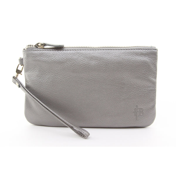 Mighty Purse Genuine Leather Phone Charging Wristlet Wallet - Grey Shimmer $$ - ArtsiHome