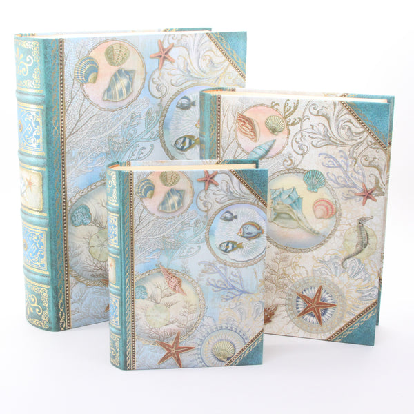 Punch Studio Seascape Set of 3 Large Nesting Book Boxes - ArtsiHome