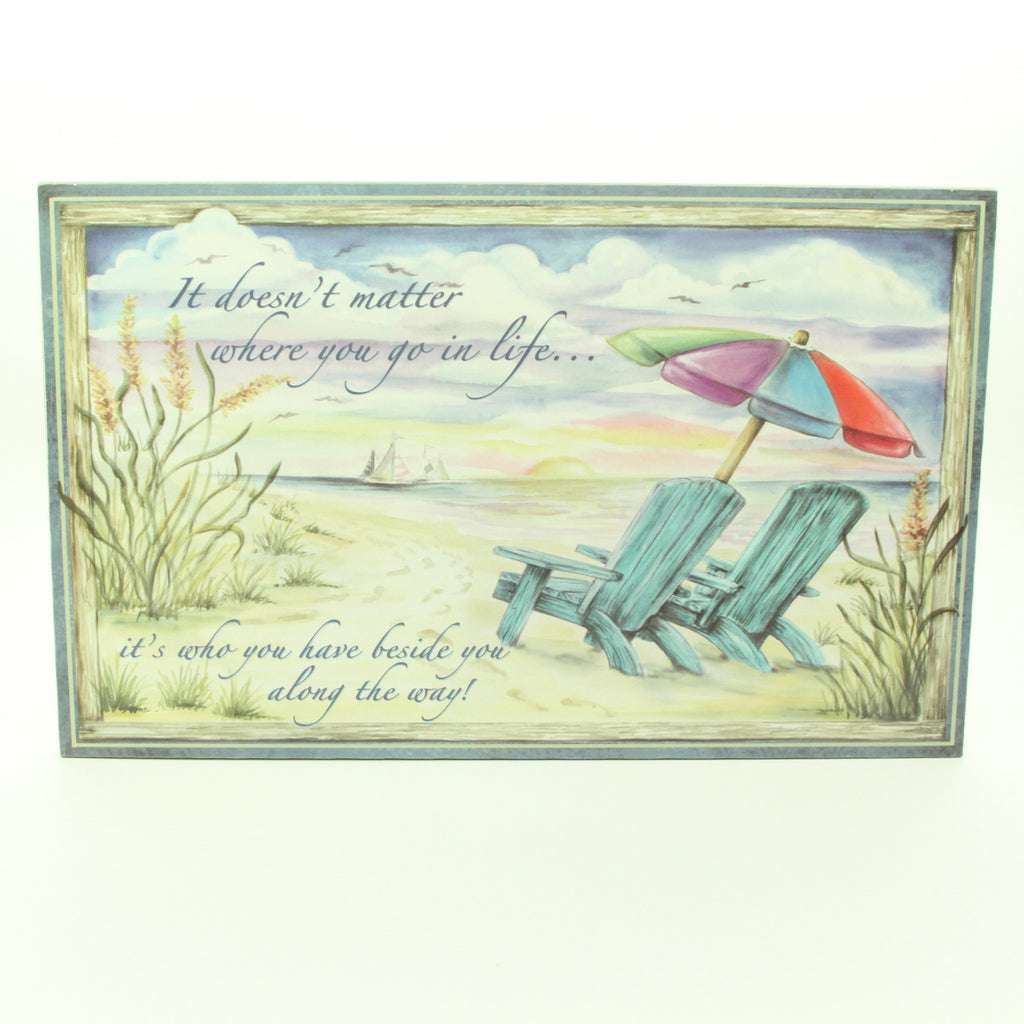Beach Scene Wall Sign w/Inspirational Quote - ArtsiHome