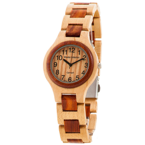 Tense Wood Watch Solid Maple Sandalwood Mens Round Watch Unique G7509MS - ArtsiHome