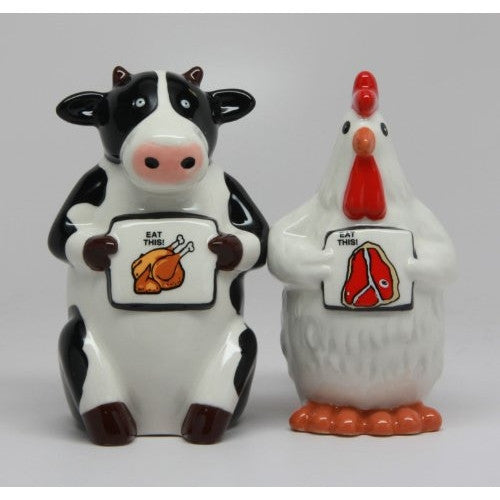 Eat Chicken Eat Beef - Salt and Pepper Shakers - ArtsiHome