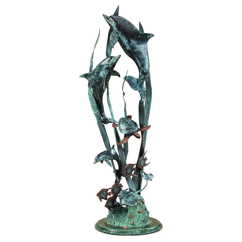 SPI Dolphin Seaworld Seascape Marble and Brass Sculpture - ArtsiHome