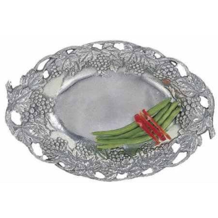 Arthur Court Grape and Vine Aluminum Oval Serving Tray - ArtsiHome