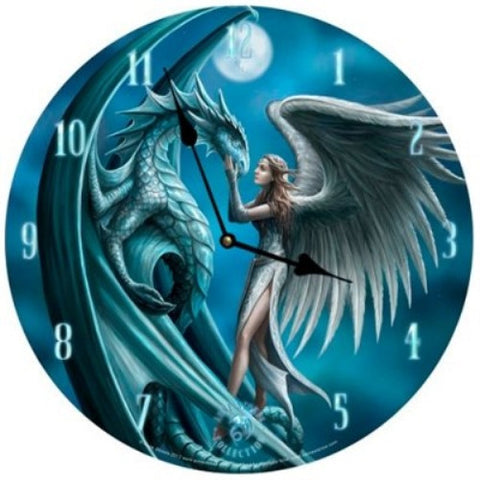 Anne Stokes Silver Back Bedroom Wall Clock Round Gothic Dragon Fairy Moon - ArtsiHome