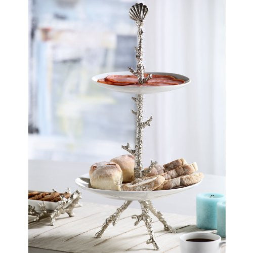 SPI Coral Collection Antique Silver Finish Plate Stand - ArtsiHome - SPI Home