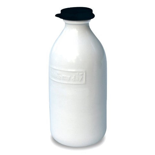 Make My Day Retro 1-Liter Milk Bottle, Black Top - ArtsiHome