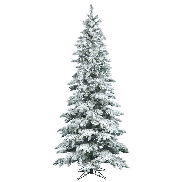 9' x 49 Flocked Utica Fir Tree Metal Stand, by Vickerman - ArtsiHome