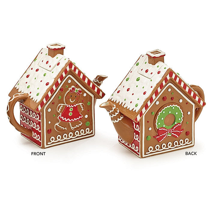 Gingerbread House 48 Oz Christmas Teapot with Snow Covered Roof and Accented with Loads of Holiday Delights - ArtsiHome