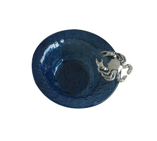 Mud Pie Blue Glass Condiment Bowl with Crab, 6-Inch [Kitchen] - ArtsiHome