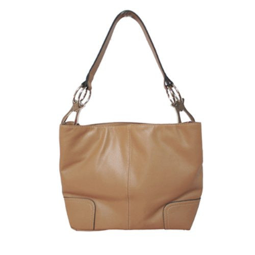 New Tosca Handbag, Purse Bucket Style Shoulder Bag Leather Look, 640 Color Med Brown - ArtsiHome