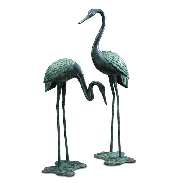 SPI Garden Collection Large Garden Crane Pair Sculpture - ArtsiHome