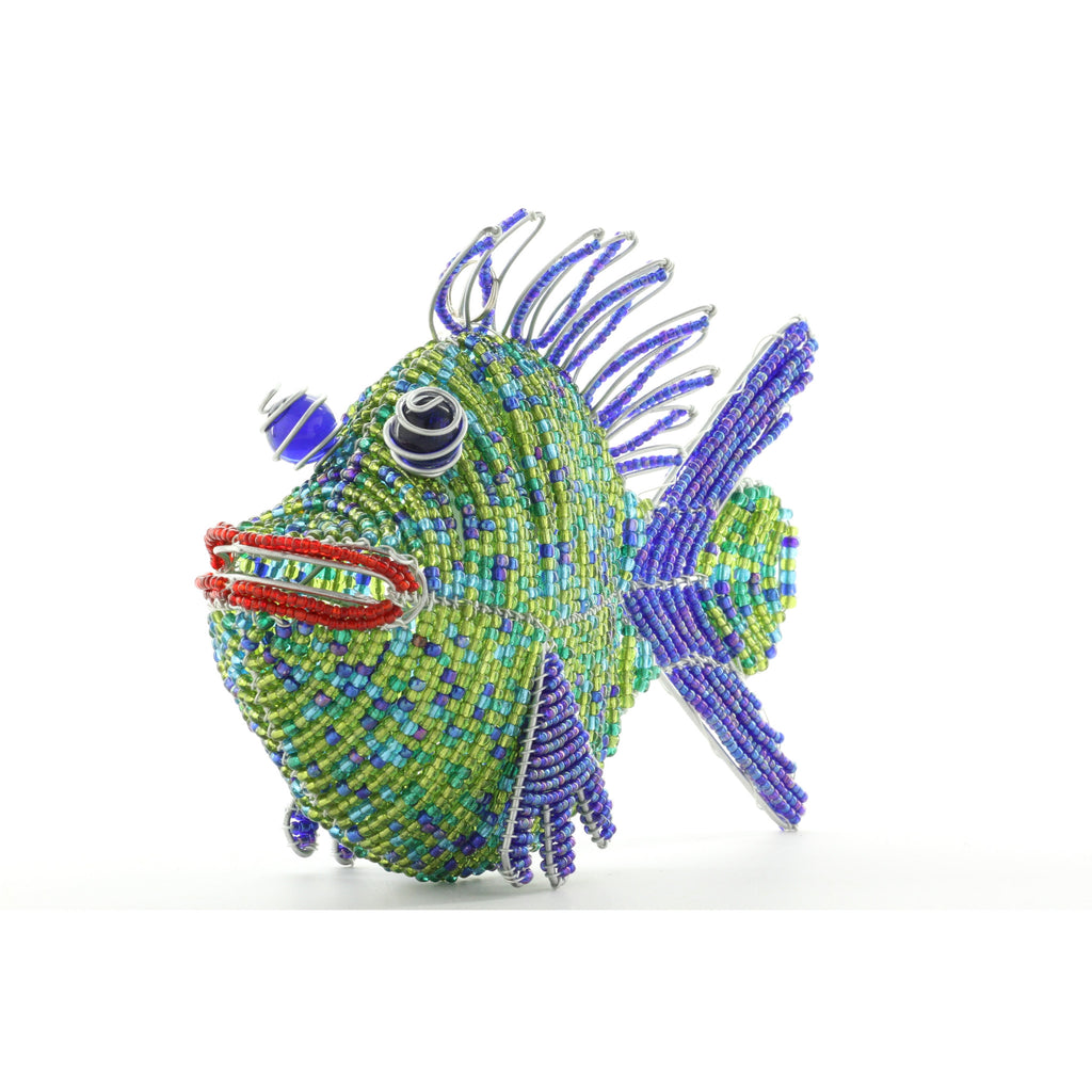 Grass Roots Creations Fuchsia Spunkle Fish Beadworx Sculpture - ArtsiHome