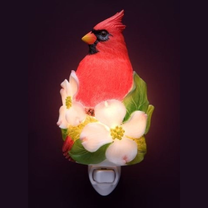 Cardinal on Dogwood Blossom Night Light -( Ibis & Orchid Flowers of Light Collection) - ArtsiHome