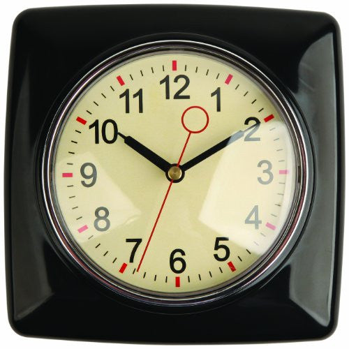 Kikkerland Retro Kitchen Wall Clock, Black - ArtsiHome - Kikkerland