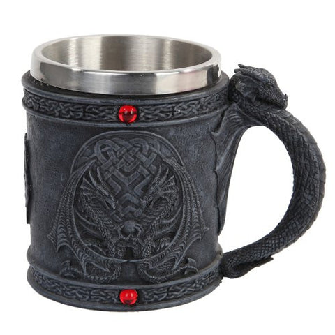 Celtic Dual Winged Dragon Mug Chalice Resin Body Stainless Steel Faux Stone - ArtsiHome