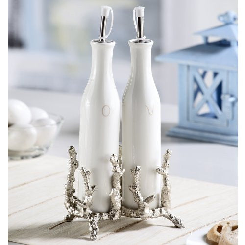 SPI Coral Antique Silver Finish Oil and Vinegar Holders (Set of Two) - ArtsiHome