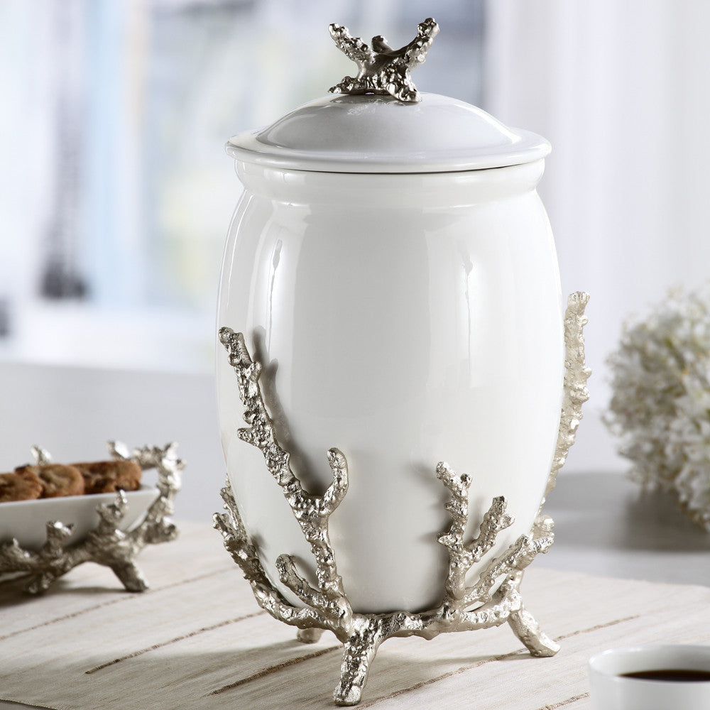 Ceramic Coral Canister: SPI Coral Collection - ArtsiHome