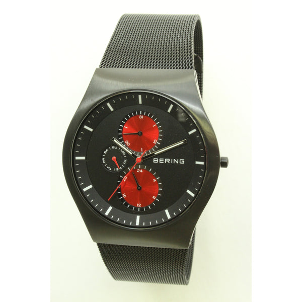 Bering Time Men's Classic Black Brushed Stainless Steel Watch w/ Black Mesh Strap - ArtsiHome