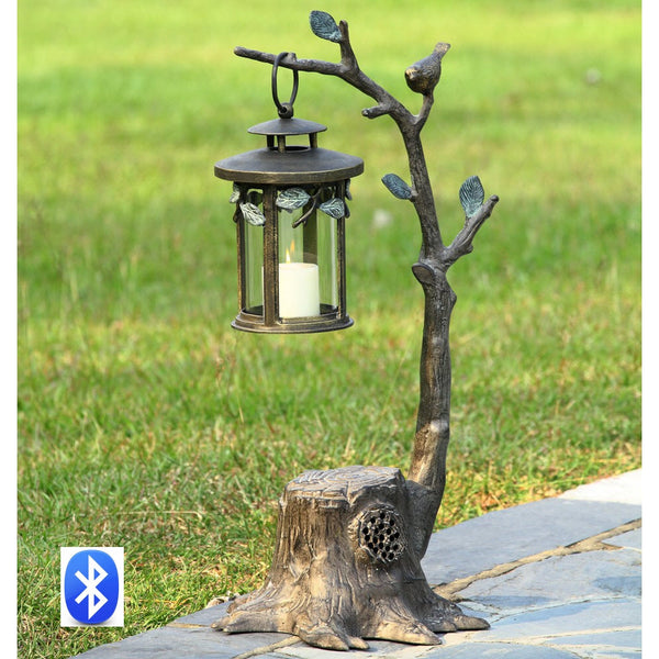 SPI Garden Collection Bird on Branch Lantern w/BlueTooth Speaker - ArtsiHome