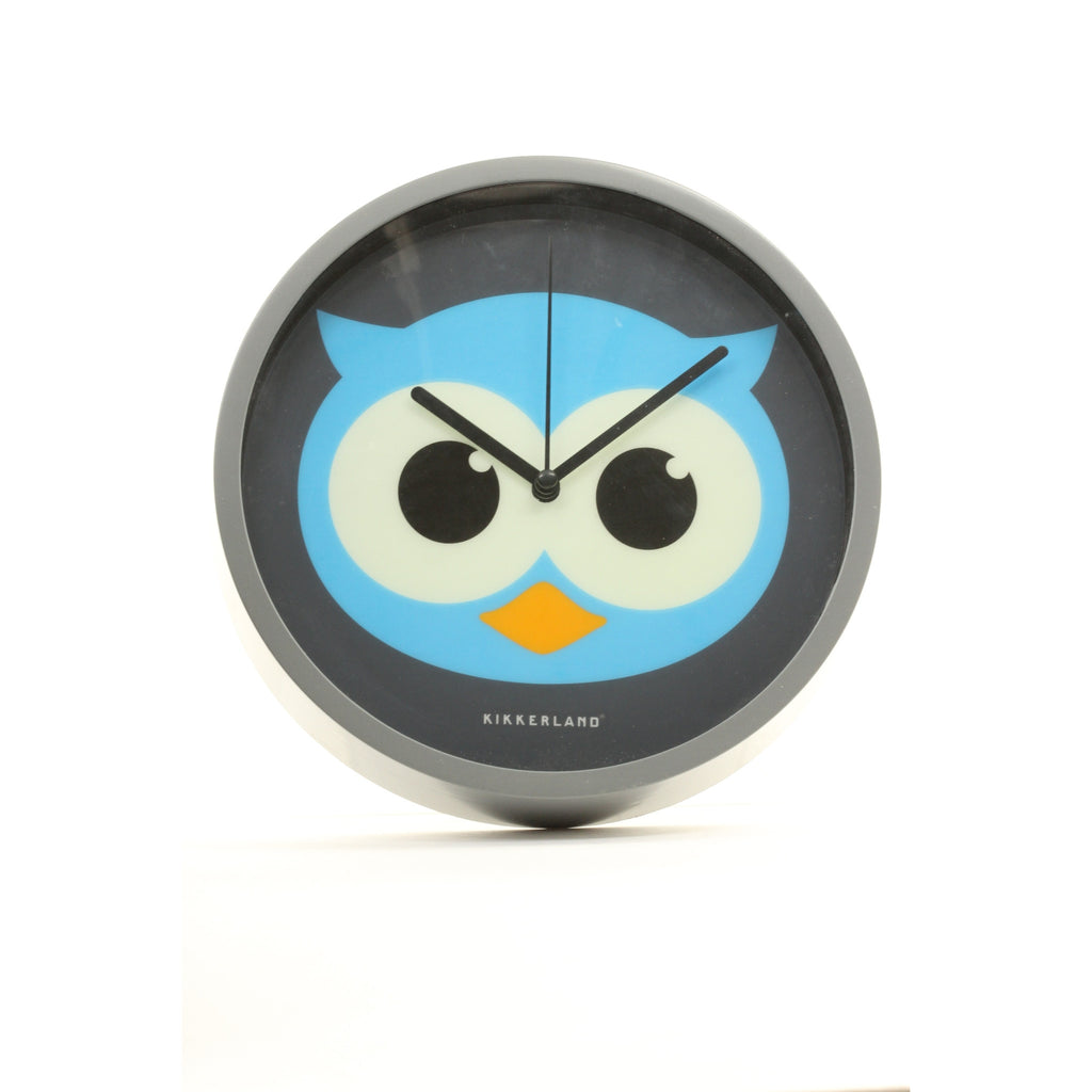 Kikkerland Night Owl Wall Clock Glow in The Dark Eyes - ArtsiHome