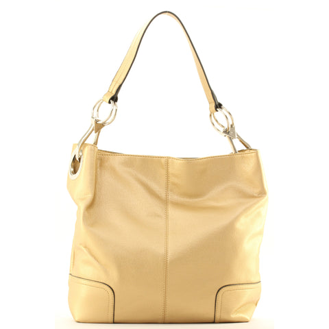New Tosca Handbag, Purse Bucket Style Shoulder Bag Leather Look, 641 Color Gold - ArtsiHome